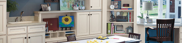 Craft room with Aristokraft cabinets