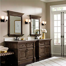 Custom bathroom vanity cabinets with matching mirrors