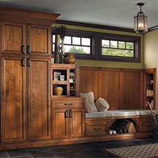 Cherry entryway cabinets