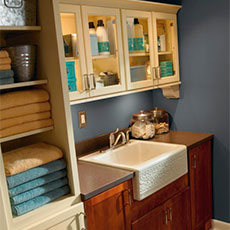 Sink base cabinet in laundry room