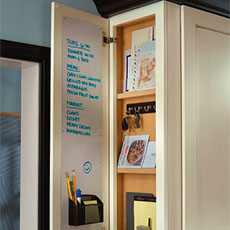 Our home office cabinetry storage includes file drawers, message cabinets, and more organization solutions.