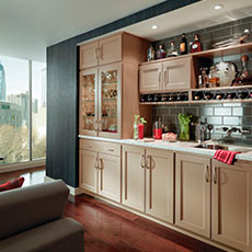 Use MasterBrand cabinets to create a built-in bar cabinetry that showcases your wine collection.