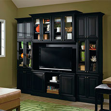Add flair and functionality with living room cabinets by MasterBrand.