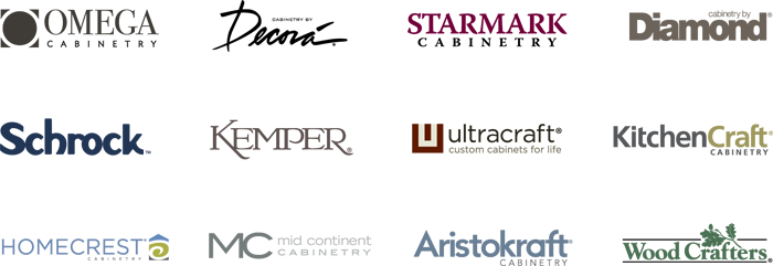 Table with logos of MasterBrand cabinet brands
