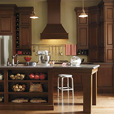 Warm Cherry kitchen cabinets from MasterBrand