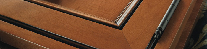 Close up of cabinet door with faux hinge