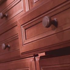 Close up of open cabinet drawer