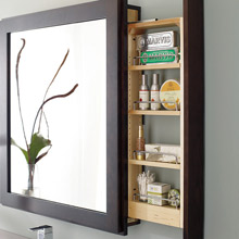 Bath mirror pullout cabinet in dark wood stain