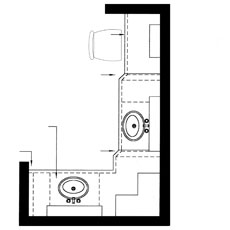A floor plan shows the wall layout and cabinets from above looking down.