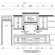 An elevation is a flat drawing showing each wall of cabinetry as if you were standing and facing it.
