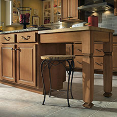 Add more functionality and beauty to your kitchen layout by creating a kitchen island.
