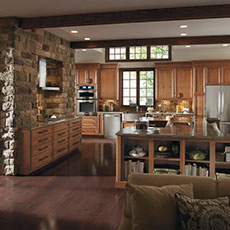 Cherry cabinets in a rustic style kitchen