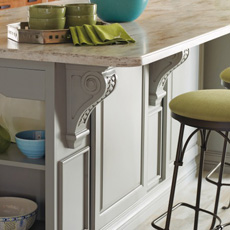 Close up of a kitchen island with corbels