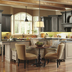 Large kitchen with island seating and table for family meals
