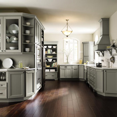 Gray kitchen cabinets by Homecrest Cabinetry