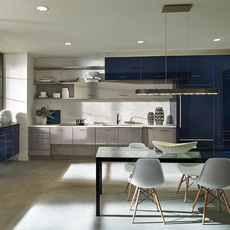 Acrylic and melamine kitchen cabinets by Kitchen Craft Cabinetry