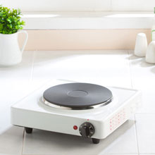 Hot plate on white kitchen counter