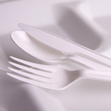 Plastic cutlery on a paper plate