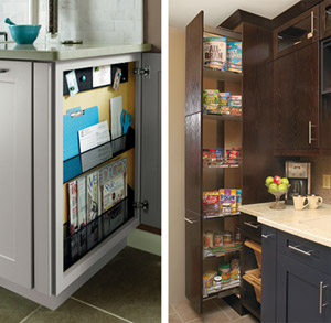 Side-by-side images of the Diamond Base Message Center and Kitchen Craft Dispensa & Cabinet Storage Ideas by HGTV Feature MasterBrand Products
