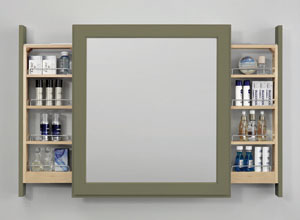 Bathroom organization cabinet by Decora featured in House Beautiful.
