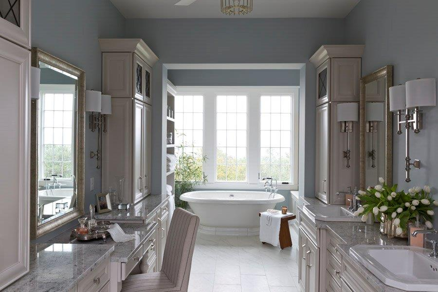 Diamond master bathroom cabinets in the Rothshire door style with Dover finish