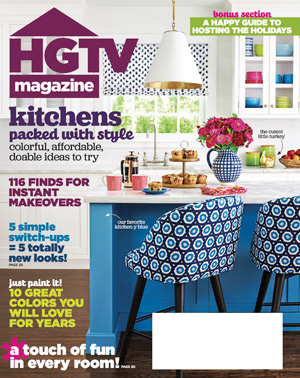 Cover of November 2016 issue of HGTV Magazine featuring a custom kitchen island by Omega