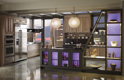 Omega kitchen cabinets with on-trend purple lighting accents