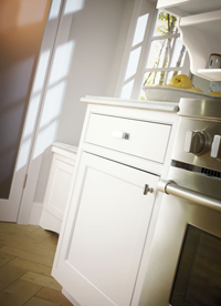 Prescott inset cabinet door in white by Decora Cabinetry