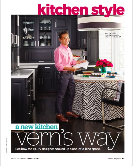 Page from HGTV magazine of Vern Yip in his kitchen featuring Omega custom cabinets
