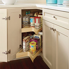 Lazy susan cabinet interior for a kitchen remodeling project