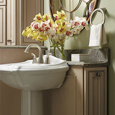 Consider the overall design for your space, like this cabinet for a bathroom remodeling project.