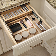 Cabinet drawer organization for a bathroom remodeling project