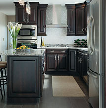 Renovated Kitchen With Chocolate Finished Cabinets From Kemper Cabinetry