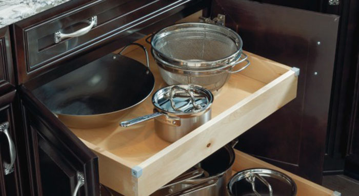Pots and pans storage cabinet by Kemper Cabinetry