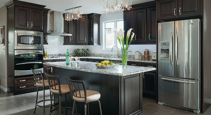 Elegant kitchen remodel featuring Kemper Cabinetry>