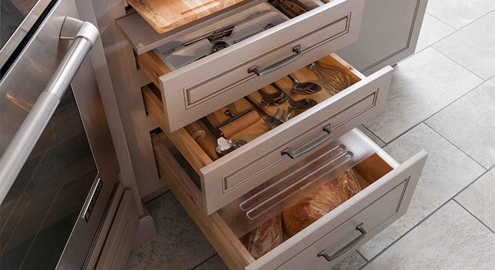 Cabinets with organization solutions like the Scoop Drawer