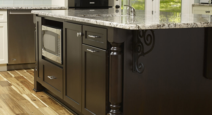 Java cabinets by Homecrest fill out the kitchen island