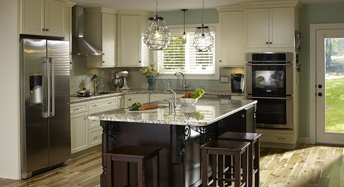 Kitchen renovation with neutral colors and kitchen island >