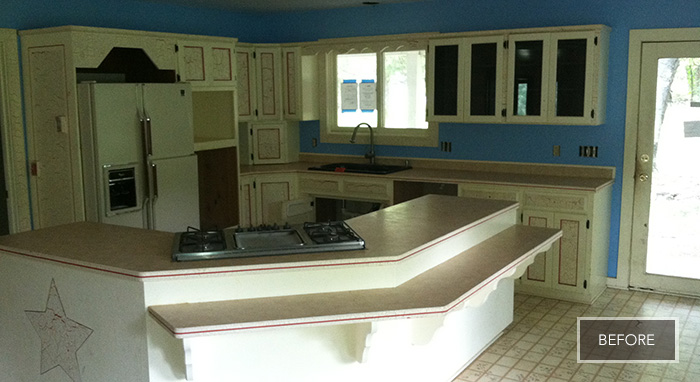 The family's outdated kitchen before the remodel>