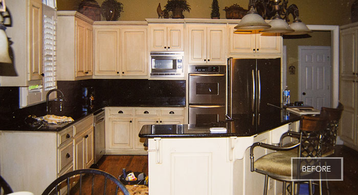 The Bernatos' kitchen before being remodeled>