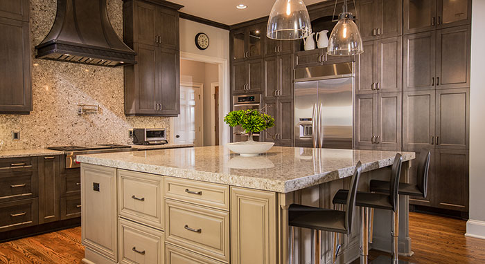 Large modern-traditional kitchen remodeled with Kitchen Craft Cabinetry>