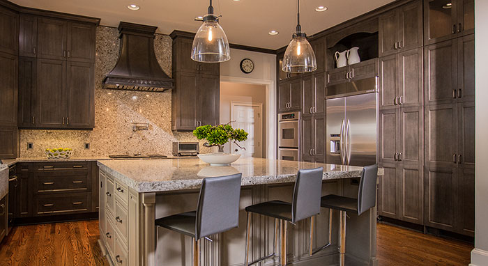 Large modern-traditional kitchen remodeled with Kitchen Craft Cabinetry