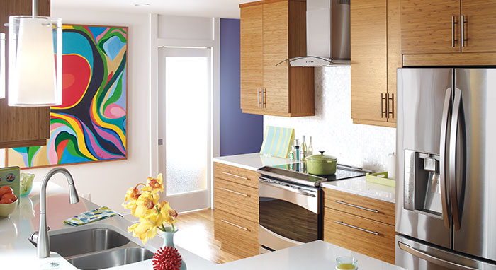 bamboo kitchen cabinets. Bamboo cabinets in a modern kitchen remodel  Modern Kitchen Remodel with Cabinetry MasterBrand
