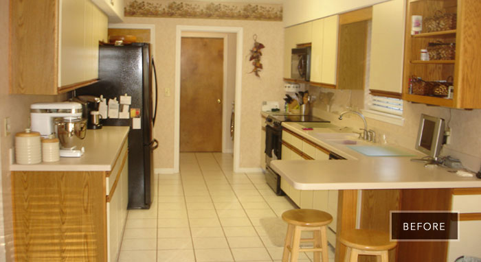 Outdated kitchen before being remodeled>