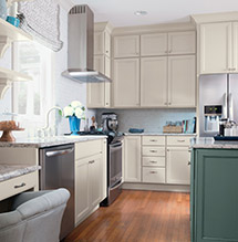 Kitchen makeover with Maple Dover cabinets and Oasis island by Diamond