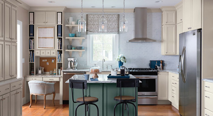 Kitchen makeover with painted Maple cabinets by Diamond
