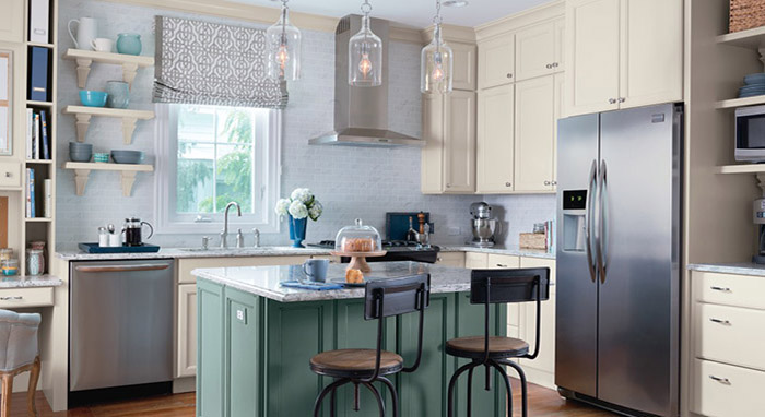 Kitchen makeover with painted Maple cabinets by Diamond>