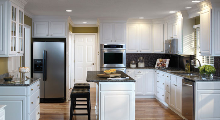 Augusta White Thermofoil kitchen cabinets by Aristokraft