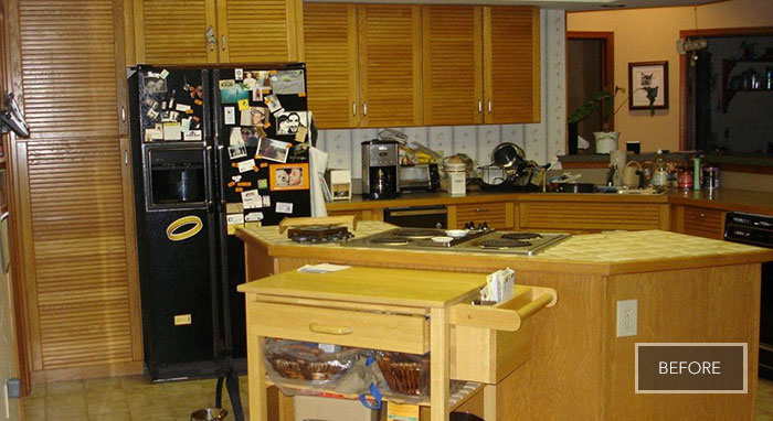 The closed-off and outdated kitchen before it was remodeled
