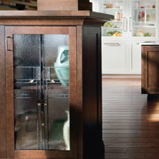 A glass cabinet door featuring a timeless design motif